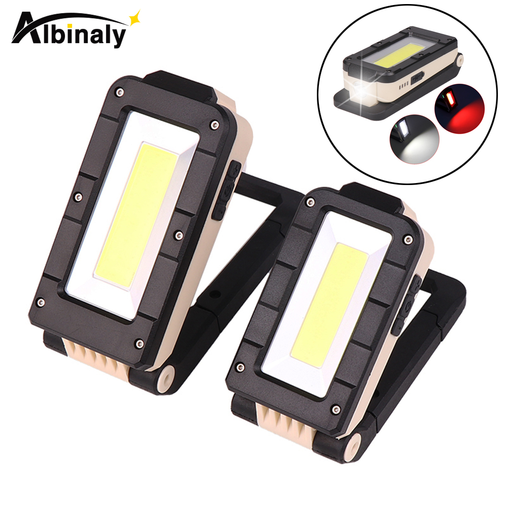 Usb Rechargeable Cob Work Light Portable Led Flashlight 180 Degree Adjustment Bottom With Magnetic Suitable For Camping