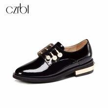 9bdf3d99a CZRBT Big Tamanho 34-42 Das Mulheres Apartamentos Sapatos Casuais Sapatos  de Couro Oxfords Dedo Do Pé Redondo Mulheres Lace Up E..