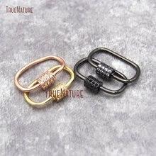 CZ Micro Pave Oval shape винтовая застежка золото розовое золото бронзовая Посеребренная u-образная застежка замок карабин проложенный замок FC26932