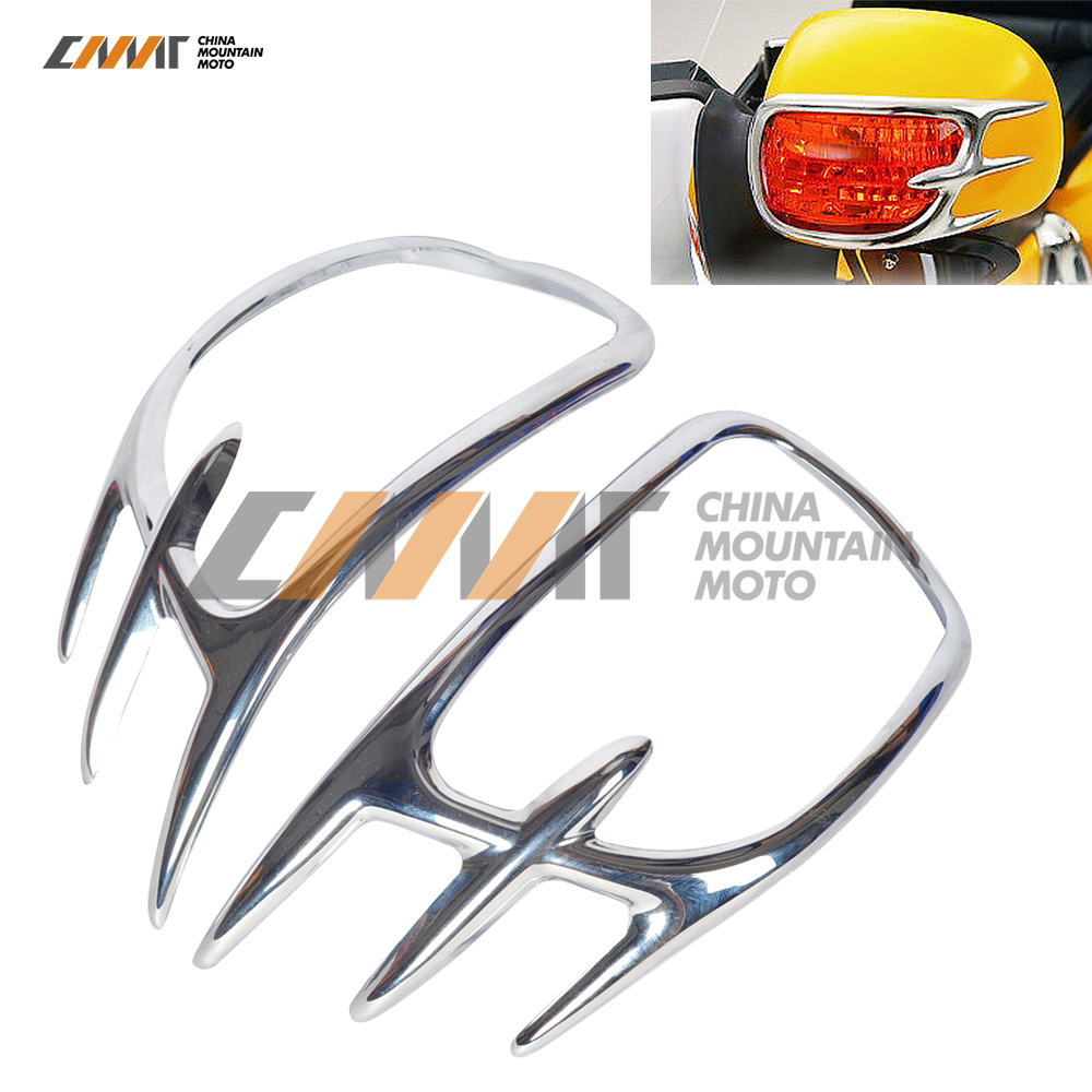 1 Set Chrome Fairing Mirror Back Accent Grilles For Honda Goldwing GL1800 2001-2011 10 chrome motorcycle front fairing headlight lower grill case for honda goldwing 1800 gl1800 2001 2011