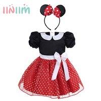 Bonito Infantil Do Bebê Meninas Vestidos de Bolinhas Traje de Halloween Cosplay Vestido de Festa com Aro Cabelo Mangas Curtas Roupas SZ 9M-4Y