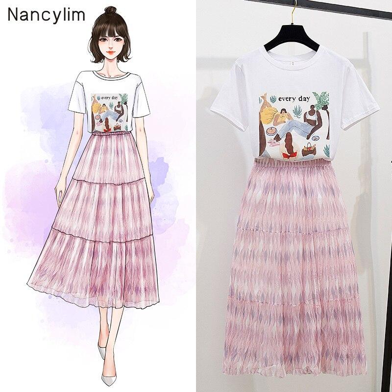 Femmes costume 2019 été mode imprimé t-shirt + tempérance corps jupe deux pièces filles dames jupes ensemble femelle ensembles Nancylim