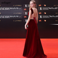 2019 New arrival Elegant Sexy Simple A Line Floor Length Customized Plus Size Fashionable Celebrity Dresse Scoop Neck Wine Red