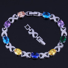 Glamorous Oval Egg Multigem Multicolor Purple Cubic Zirconia 925 Sterling Silver Link Chain Bracelet 20cm 22cm For Women V0051