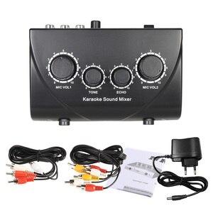 Image 5 - Mélangeur décho Audio stéréo Portable karaoké double entrées Microphone avec câble RCA adaptateur dalimentation pour TV PC amplificateur de Smartphone
