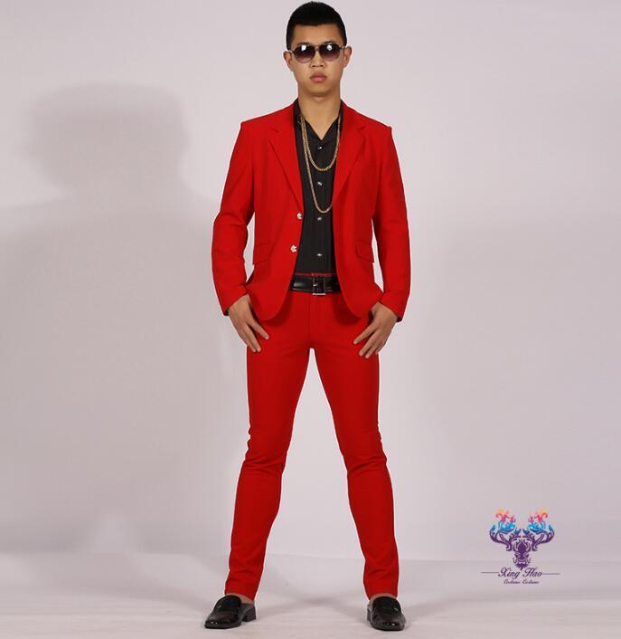 promo code 00400 8155f US $71.25 5% di SCONTO Abiti da uomo disegni masculino homme terno uomini  giacca rossa danza costumi di scena per cantanti vestiti giacca stile della  ...