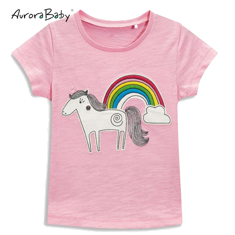 2018 Summer Short Sleeve Pink Rainbow T shirt Cotton Horse Print Tee Tops Infant Toddler Baby Girls Clothes Children Clothing