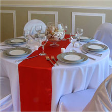 1PC 30*275cm Wedding Party Decorative Rectangle Solid Satin Table Runners For Hotel Round Table Decoration Festival Supplies(China)