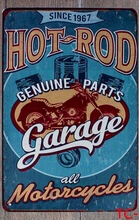 1 pc Hot rod Garage Motorcycle parts Mechanic repair service Tin Plate Sign wall plaques Man cave vintage metal Poster