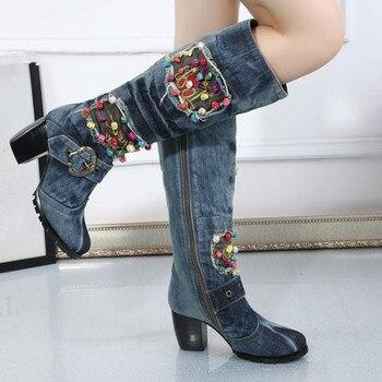 Zapatos de mujer de tacón alto a la moda de tela vaquera talla grande 41 42 tacón crudo más terciopelo cálido invierno botas altas botas casuales de mujer bota