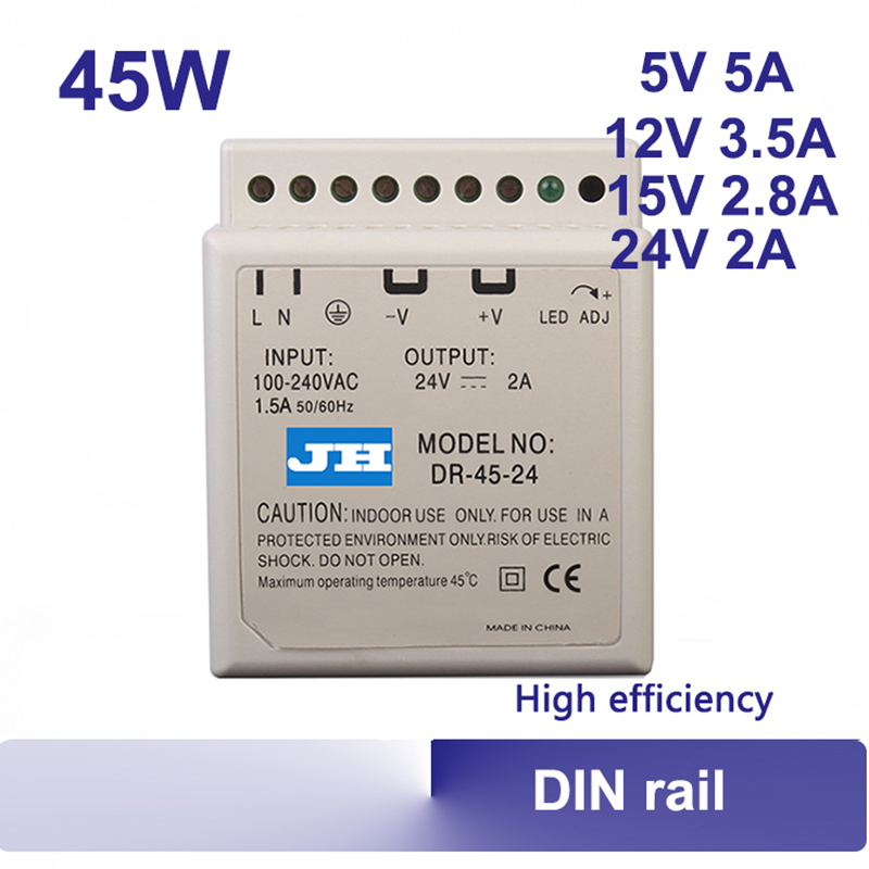 5V 12V 15V 24V DIN rail power supply 45w Universal AC input auto indutrial switching power supply ac to dc high quality DR-45 meanwell 12v 350w ul certificated nes series switching power supply 85 264v ac to 12v dc