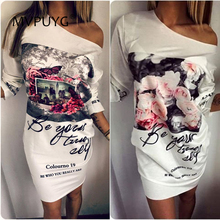 T-Shirt Dress Women Print Summer Floral White Mini Sexy Side Split Half Sleeve Casual Elegant Loose  Dress Vestido Plus Size