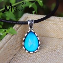 Фотография Mojo Classic Design Sterling Antique Silver Water Drop Shaped Mood Pandant Leather Rope Mood Color Change Necklace MJ-SNK003