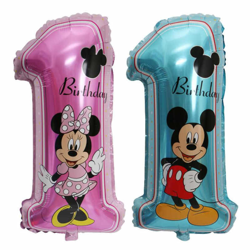 76*38cm Number 1 balloon Blue and Pink Mickey Minnie 1st Birthday Party Decoration Supplies Balloons