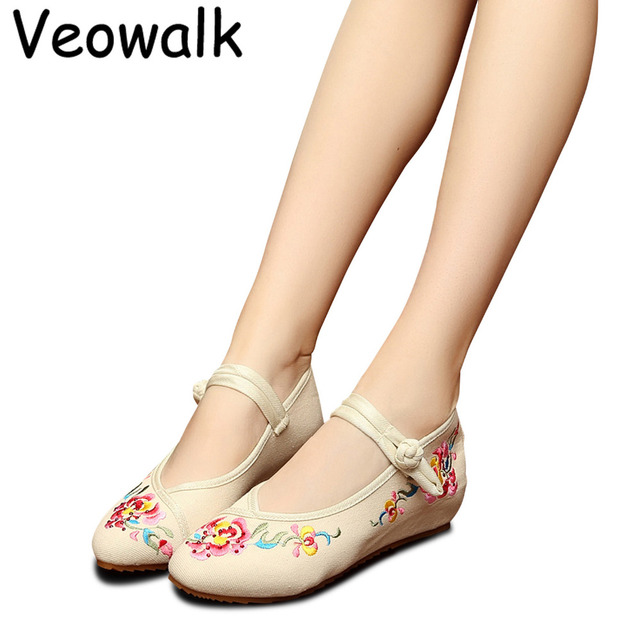 Veowalk Flowers Vine Embroidery Women Canvas Mary Jane Flats Pointed Toe  Vintage Comfort Ladies Casual Cotton Denim Shoes