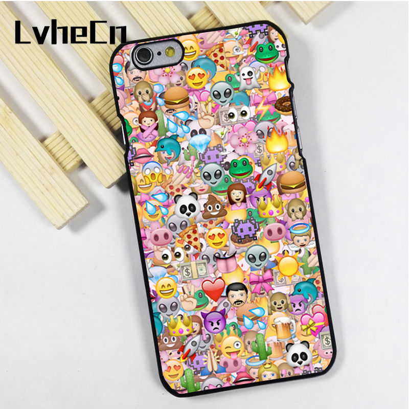 LvheCn phone case cover fit for iPhone 4 4s 5 5s 5c SE 6 6s 7 8 plus X ipod touch 4 5 6 Emoji pattern stickerbomb
