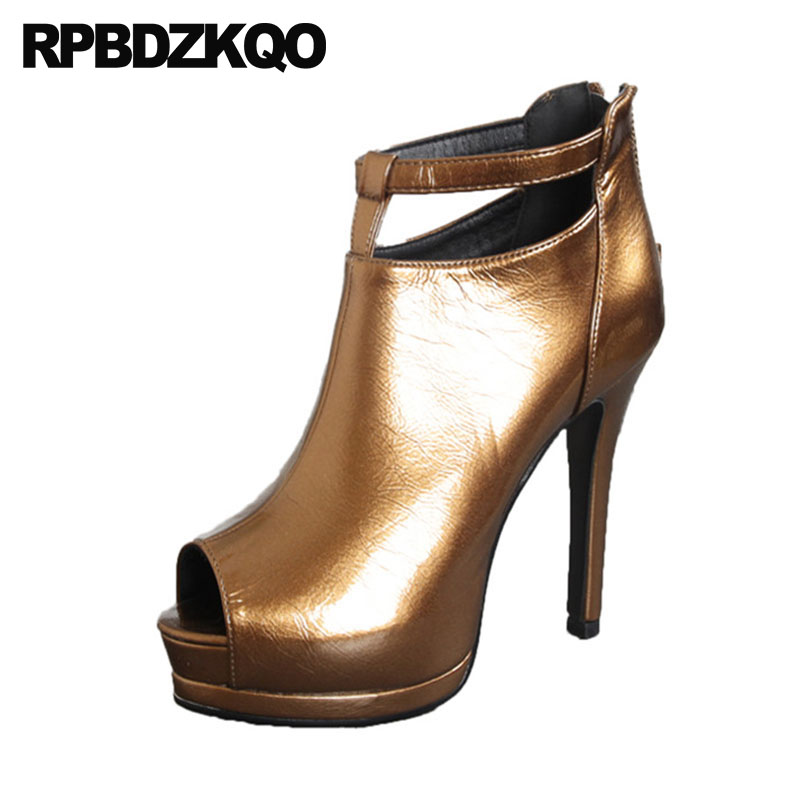 Peep Toe Ankle Boots Brand High Heels Extreme Strap Fashion Pumps Pointed Stiletto 12cm 5 Inch Gold Shoes Women With Platform цена