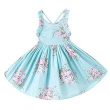 Летнее платье для маленьких девочек пляжное платье Стиль Цветочный принт вечерние платья с открытой спиной для девочек Винтаж малышей Одежда для девочек