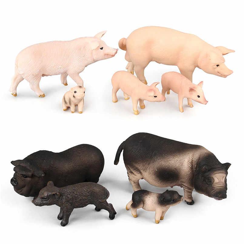 Simulação de plástico Porco Animais Modelo Coleção Figuras de Ação Brinquedos Para Crianças dos miúdos Para Casa Decoração de Mesa de Areia Brinquedo de Aprendizagem
