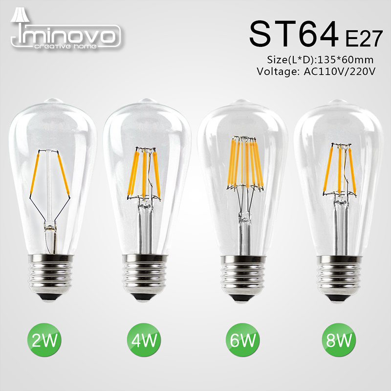 IMINOVO 20 Pack LED Filament Bulb Light E27 ST64 Vintage LED Edison Bulbs Retro Glass Dimmable Lamp 2W 4W 6W 8W AC110-220V Home retro lamp st64 vintage led edison e27 led bulb lamp 110 v 220 v 4 w filament glass lamp