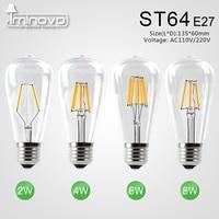 IMINOVO 20 Pack LED Filament Bulb Light E27 ST64 Vintage LED Edison Bulbs Retro Glass Dimmable Lamp 2W 4W 6W 8W AC110 220V Home