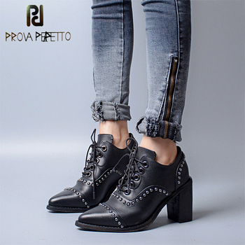 Prova Perfetto Genuine Leather Lace Up Square High Heel Women Pumps Pointed Toe Rivet Gladiator Shoes British Style Single Shoes