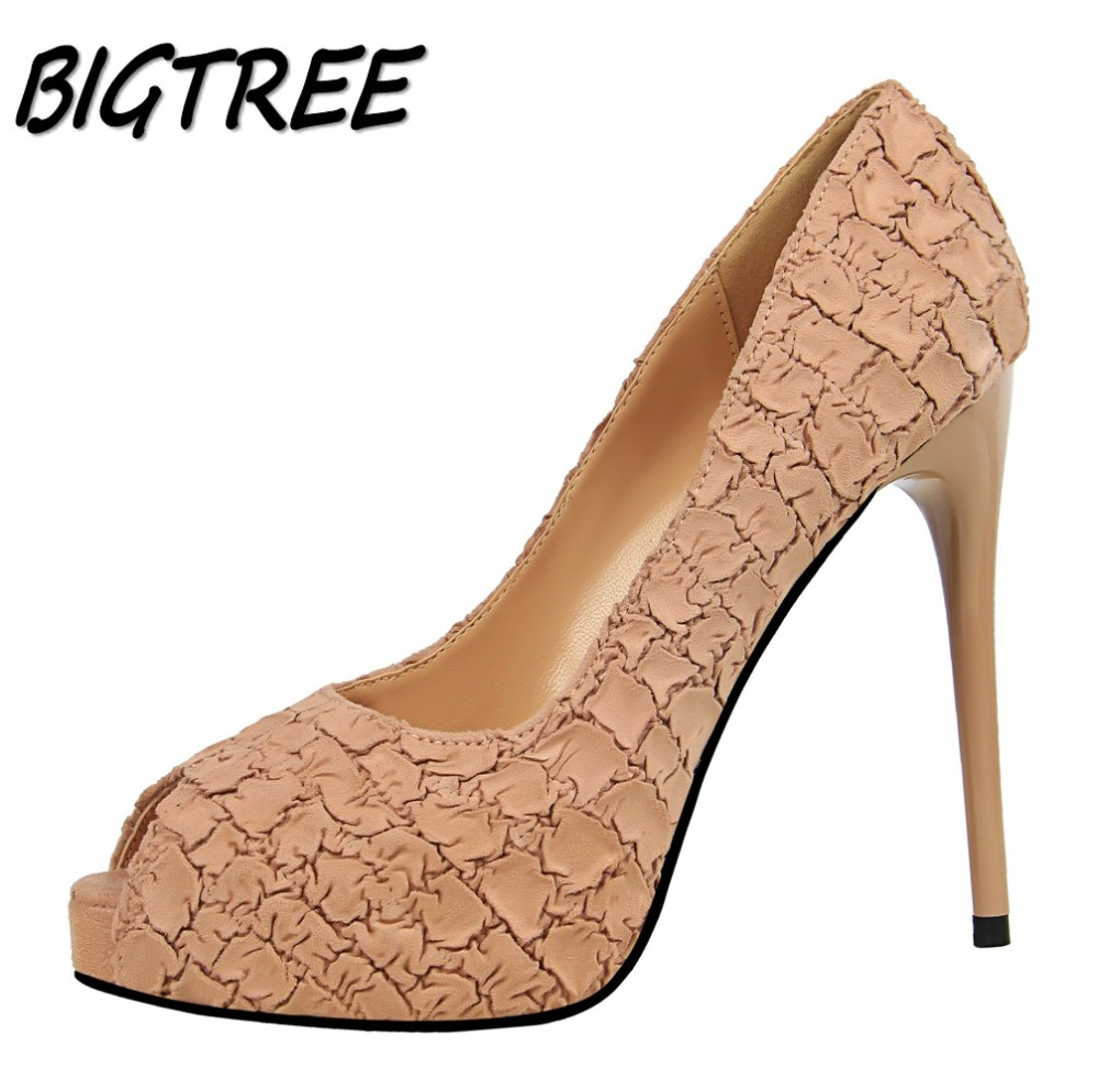 BIGTREE Women Peep Toe High heels Shoes Woman Pumps Ladies Fashion Wedding Party sexy Stone grain Shallow Platform Stilettos enmayer cross tied shoes woman summer pumps plus size 35 46 sexy party wedding shoes high heels peep toe womens pumps shoe