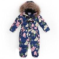 Çocuk Rusya Kış-30 Derece Kalınlaşmak Tulum Bebek Erkek Sıcak Hoodie Giyim Kız Rüzgar Geçirmez Snowsuit Aşağı Ceket Tulum