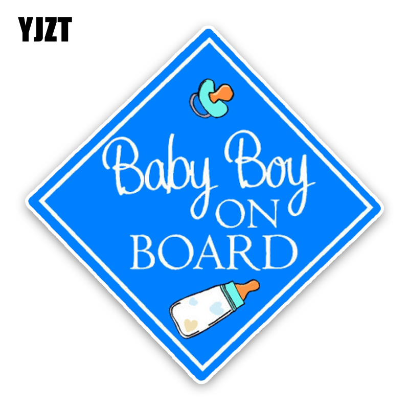 Yjzt 14.7*14.7 см Предупреждение знак синий ребенок на борту мультипликационным изображением мотоцикла Цветной украшение автомобиля Стикеры ...