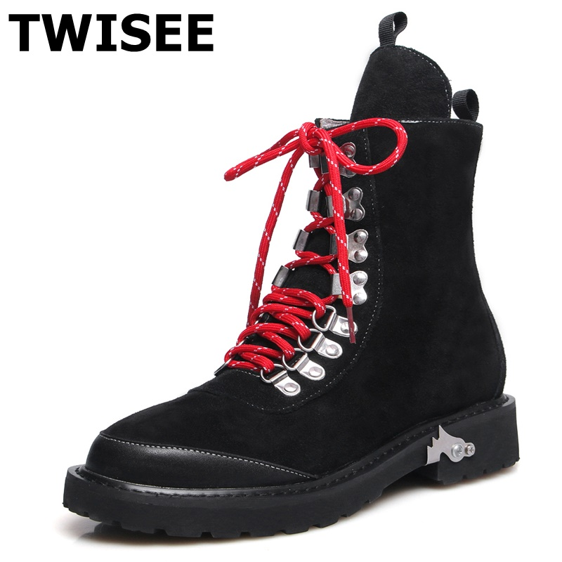TWISEE New Lace-Up Ankle Boots zapatos mujer women Genuine Leather Boots Vintage Style Flat Booties Round Toe Women's Shoes women sneakers fall front lace up casual ankle boots autumn shoes canvas round toe trend ladies booties 2017 red flat short new