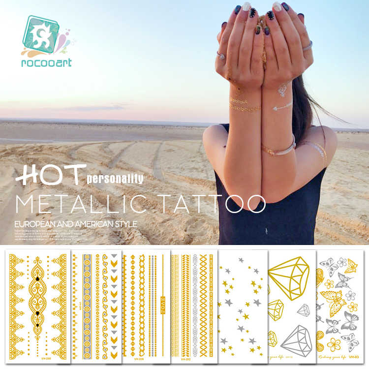 100 Different Small Size Gold and Silver Temporary Tattoos, Metallic Shiny Gold Flash Body Tattoo Sticker Butterfly flower