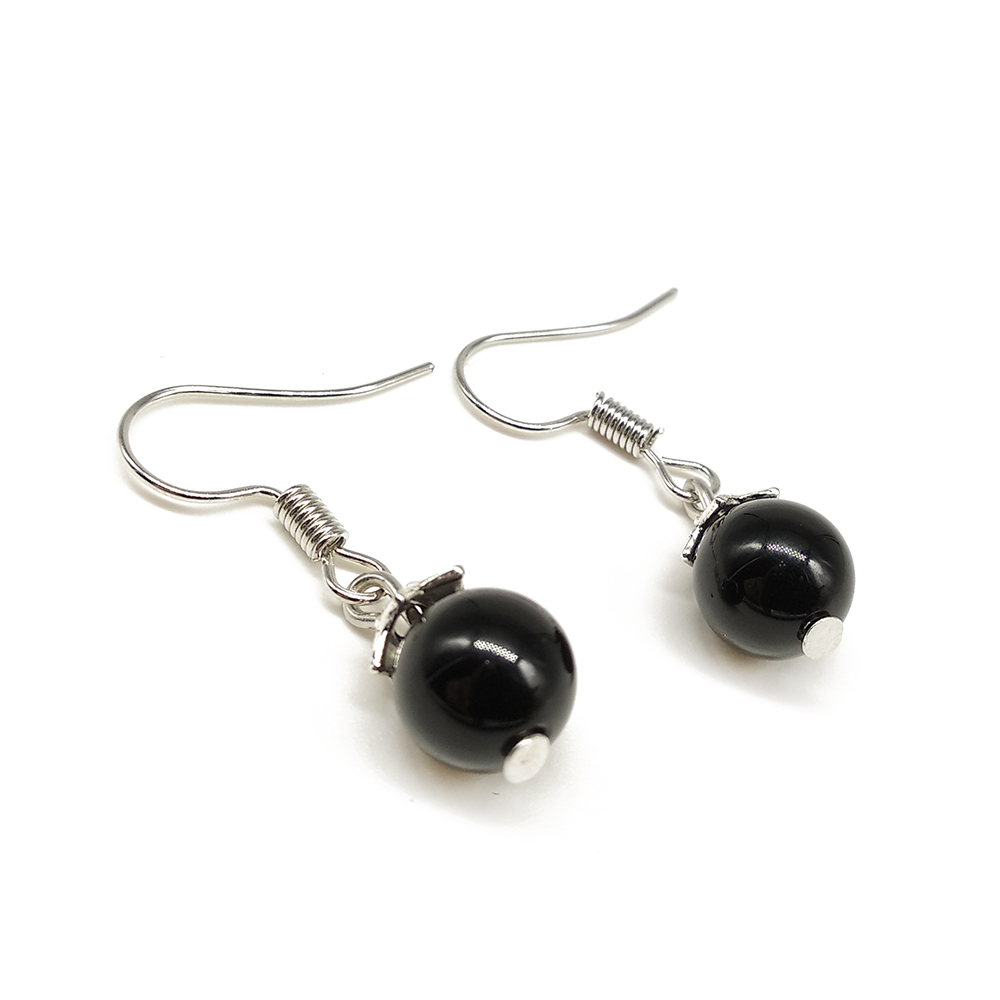 9d1a81977 ... BOEYCJR Natural Blue Sandstone Drop Earrings Handmade Fashion Jewelry  Hook Earrings Black Stone Earrings for Women