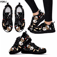 FORUDESIGNS Women Mesh Sneakers Black Nurse Bear Printed Cartoon Breathable Flats for Ladies Casual Comfortable Walking Shoes
