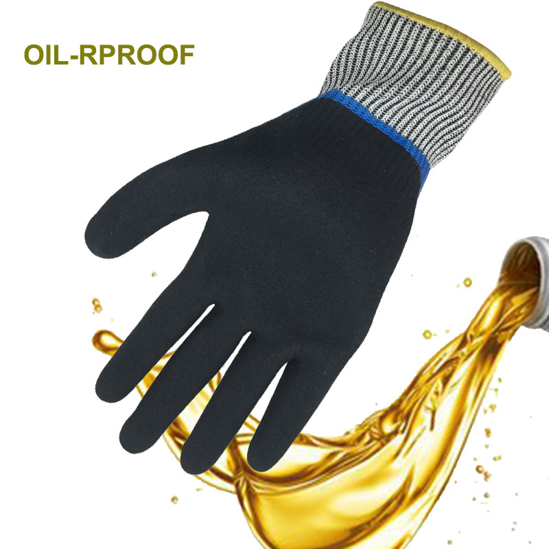 Nmsafety High Quality Doule Dipping Nitrile Palm Oil-proof & Waterproof Cut Resistant Work Glove lobster glove stainless steel metal mesh shucking glove cut proof knife proof chain mail glove