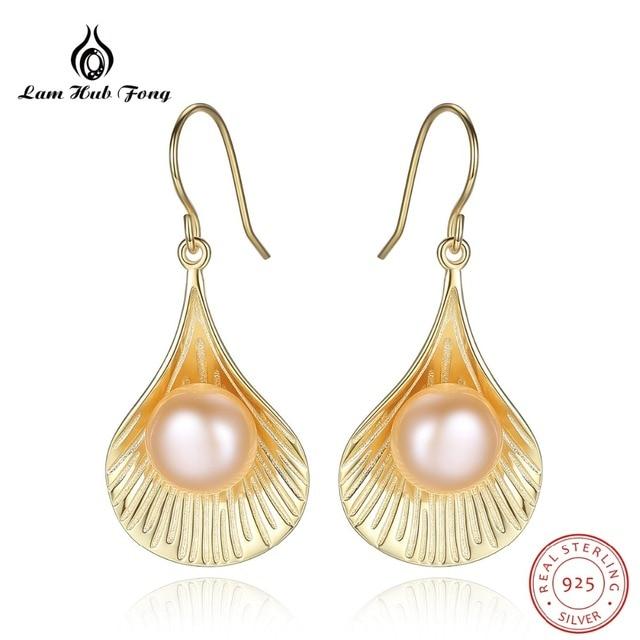 Natural Gold Pearl Earrings Scallop Earrings 925 Sterling Silver for Women Elegant Fine Jewelry Wholesale Alibaba Express