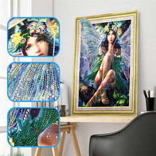 5d DIY Diamond Embroidery Special Shape Butterfly Girl Embroidered Rhinestone Crystal Painting Home Decoration 40x50cm
