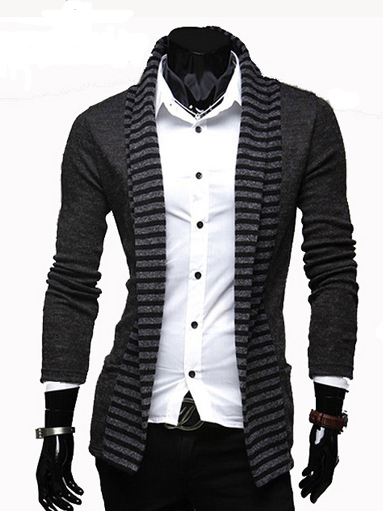 Sweater Men 2020 Hot Sale Casual Men Sweater Personality Leisure Cardigans Strip Design Pachwork Sweater