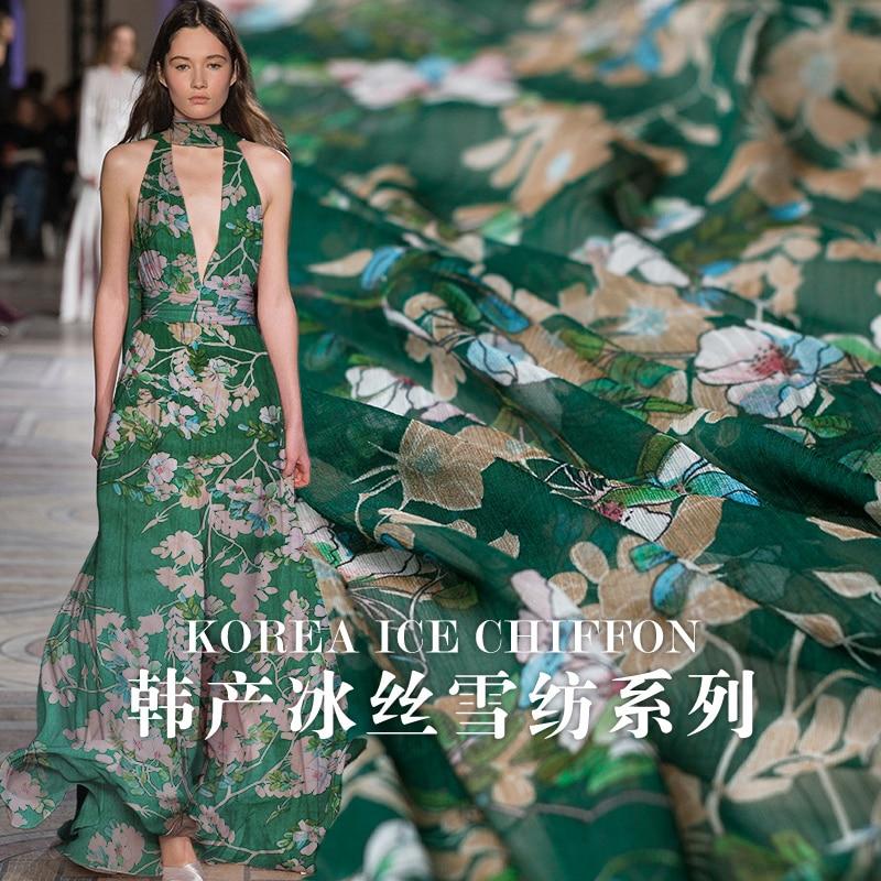 Korean ice silk chiffon deep green flower digital printing cloth