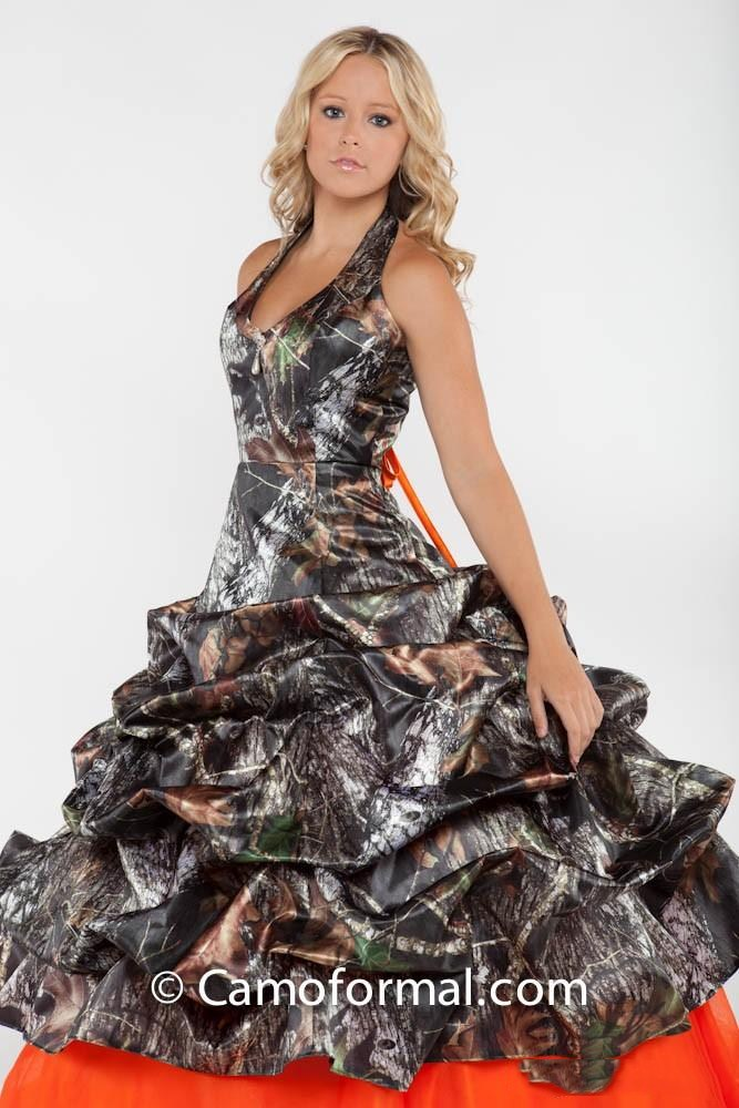 Halter Ball Gown Camo Wedding Dresses Draped Skirt Orange Bridal ...