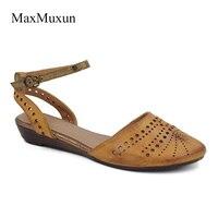 MaxMuxun Womens Đóng Ngón Chân Dép Phẳng 2017 Mùa Hè Thời Trang Cut Out Lồng Strappy Slingback Gladiator Sandals Casual Ăn Mặc Cô Gái