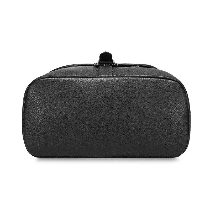 Qurezon Kapazität Laptop Echtem Bagpack 2018 9 Leder Rucksäcke Der Freizeit Black Neue 14 Große Zoll Tasche Marke Reise Männer Rucksack fqqY5w