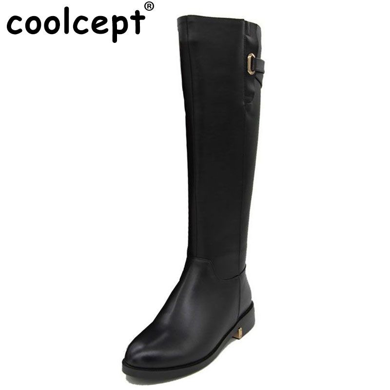 Coolcept Size 35-43 Russia Winter Warm Over Knee Natrual Real Leather Low Heel Boots Women Snow Shoes Footwear Boots R1494-1 size 33 43 women real natrual genuine leather snow high heel ankle boots half short botas winter boot warm footwear shoes r7401