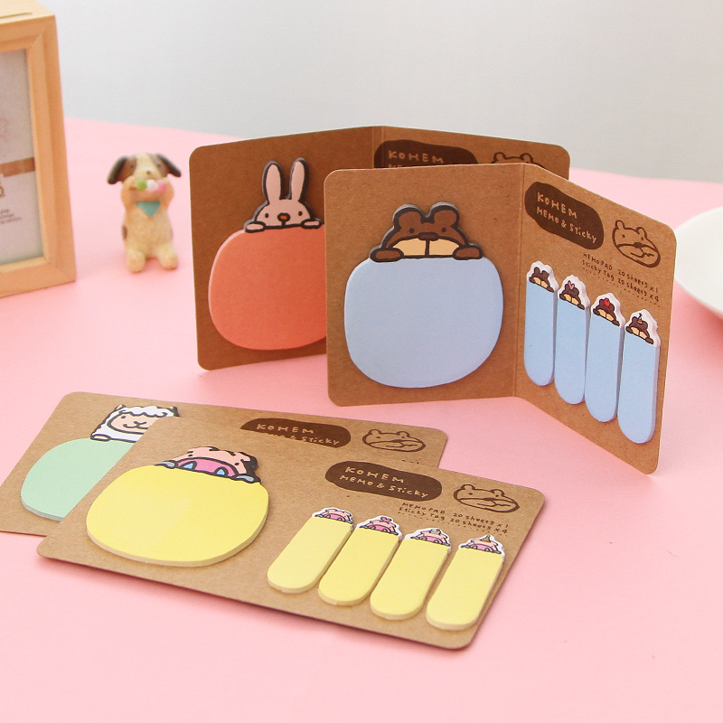 2Pcs Kawaii Animal Kraft Paper Self-adhesive Memo Pad Sticky Notes Post It Bookmark Gift Stationery