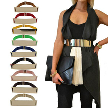 Fashion Elastic Metal Mirror Golden Sequins Waist Belt Waistband Women Accessories