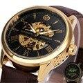 WINNER Top Luxury Men Women Automatic Watch Skeleton Mechanical Lover's Wristwatch Leather Band Luminous Hands Golden Case