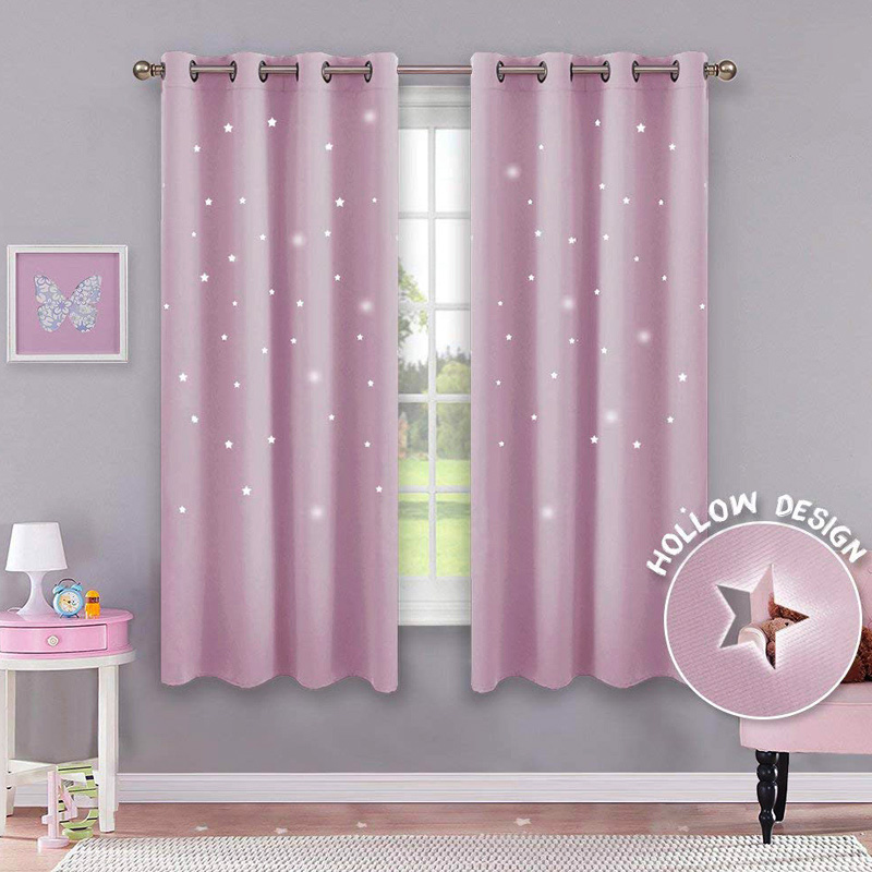 2Pcs Hot New Double Layers Blackout Curtains Drapes with Hollow Star for Kids Room Home Decor FP82Pcs Hot New Double Layers Blackout Curtains Drapes with Hollow Star for Kids Room Home Decor FP8