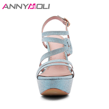 ANNYMOLI Women Sandals Platform Extreme High Heels Party Shoes 2018 Summer Open Toe Lady Sandals Big Size 33-43 Stripper Shoes