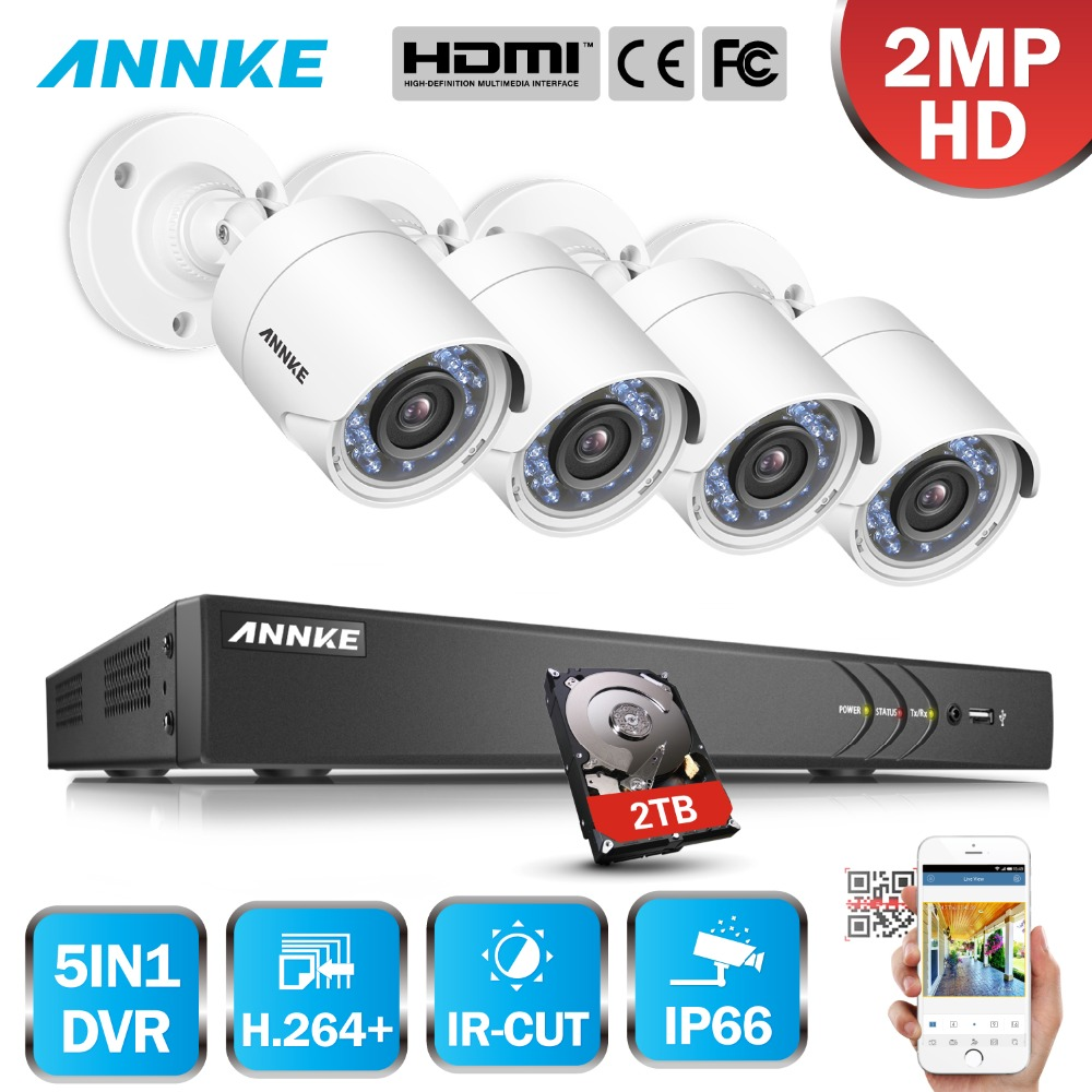 ANNKE 16CH 2MP HD 4PCS Security Camera System Outdoor 5 in 1 H.264 IP66 Weatherproof Video Surveillance CCTV System DVR Kit цена в Москве и Питере