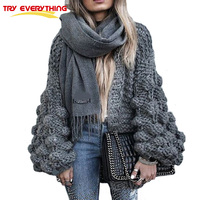Try Everything Hand Coarse Knitted Sweater Women 2018 Fashion Thicken Warm Winter Lantern Sleeve Crocheted Cardigans