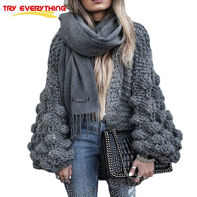 Try Everything Hand Coarse Knitted Sweater Women 2019 fashion Thicken Warm Winter Lantern Sleeve Crocheted Cardigans Female Coat